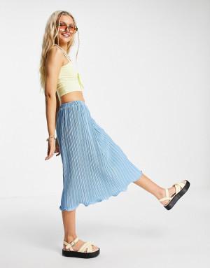 Синяя плиссированная юбка миди Urban Revivo-Голубой