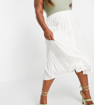 Белая ярусная юбка миди из хлопкового поплина Forever New Curve-Белый